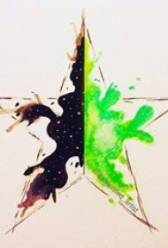 创意十足的彩绘泼墨几何线条五角星纹身手稿