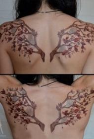女生后背上彩绘渐变简单线条植物树枝和花朵纹身图片