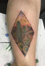 男生小腿上彩绘几何菱形和植物仙人掌纹身图片