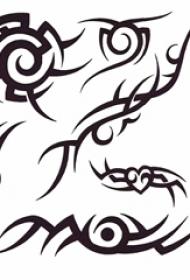 个性的黑色抽象线条创意符号纹身手稿