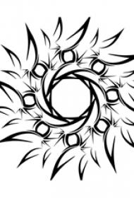 黑色线条创意文艺太阳纹身手稿