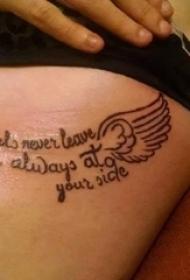 女生侧腰上黑色简单线条翅膀和英文短句纹身图片