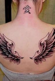 女生背部黑灰素描点刺技巧创意霸气翅膀纹身图片