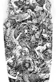 创意的大腿上黑色点刺抽象线条人物天使纹身手稿
