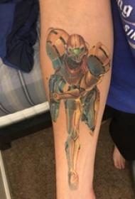 男生手臂上彩繪3d寫實簡單線條機器人紋身圖片
