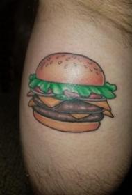 男生大腿上彩绘简单线条美味食物汉堡包纹身图片