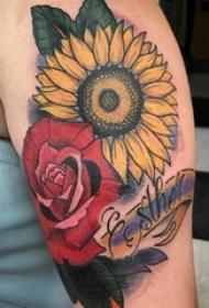 女生手臂上彩绘英文和植物玫瑰和向日葵花朵纹身图片