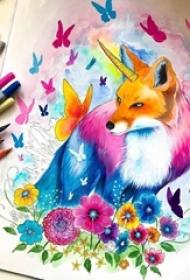 彩绘水彩七彩泼墨创意唯美浪漫可爱狐狸纹身手稿
