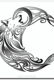 黑灰素描创意狐狸动物月亮轮廓纹身手稿