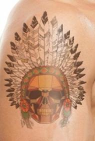 男生手臂上彩绘几何简单线条创意印第安人纹身图片