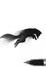 创意的黑色点刺抽象线条小动物轮廓狐狸纹身手稿