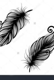 黑色的孔雀羽毛纹身简单线条图片纹身手稿素材