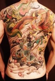 男生喜爱的霸气动物武士和龙纹身图案