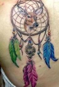 女生背部彩绘水彩素描创意文艺捕梦网纹身图片