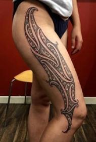 创意独特的黑色几何简单线条部落图腾纹身图案