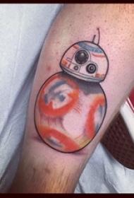 男生小腿上彩绘几何线条创意机器人纹身图片