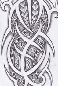 黑色的立体几何点刺纹身手稿