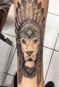 男生手臂上黑灰素描点刺技巧创意霸气印第安元素狮子头纹身图片