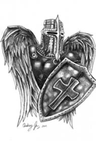 黑灰素描创意霸气精致武士纹身手稿