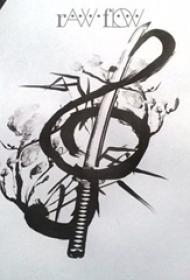 黑灰素描创意文艺精美别致音符纹身手稿