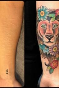 男生手臂上彩绘水彩素描创意霸气狮子纹身图片