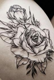 女生大腿上黑灰素描点刺技巧创意唯美花朵3d纹身图片