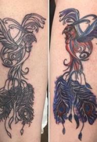 女生小腿上彩绘水彩素描创意唯美霸气凤凰纹身图片