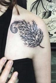 女生肩部黑色点刺简单线条创意植物叶子纹身图片