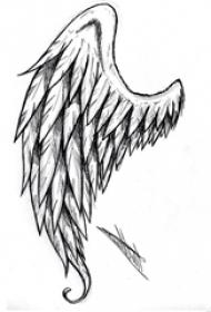 黑色素描创意霸气精致翅膀纹身手稿