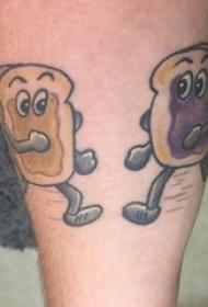 男生小腿上彩绘简单线条卡通土司食物纹身图片