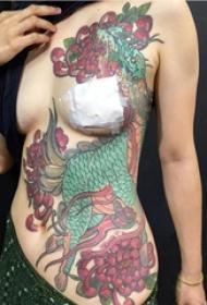 传统瑞兽彩绘抽象线条麒麟纹身图案