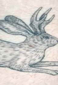 男生大腿上黑色点刺简单线条小动物兔子纹身图片