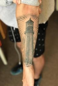 男生手臂上黑灰素描点刺技巧创意灯塔纹身图片