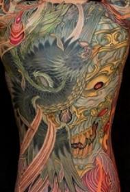 男生喜爱的大面积紧身彩绘抽象线条创意纹身图案