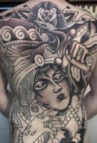 男生背部黑灰素描创意大面积女生人物纹身图片