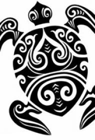 黑色线条素描创意有趣霸气乌龟纹身手稿