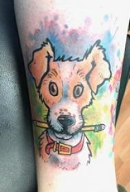 男生小腿上彩绘渐变简单抽象线条小动物宠物狗纹身图片