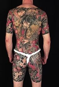 多款彩绘水彩素描创意霸气日本传统经典大面积纹身图案