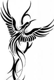 黑色素描创意唯美霸气凤凰纹身手稿