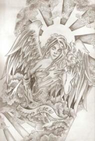 大型天使手稿黑灰的大型天使纹身手稿