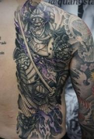 多款黑灰素描点刺技巧创意大面积霸气纹身图案