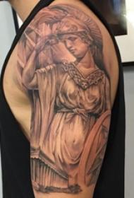 多款黑灰素描点刺技巧创意经典传统希腊人物纹身图案