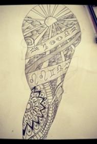黑色线条素描唯美梵花花臂纹身手稿
