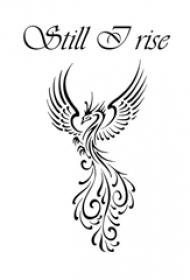 黑色线条素描霸气吉祥凤凰霸气纹身手稿