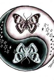 黑灰素描文艺唯美蝴蝶阴阳八卦纹身手稿