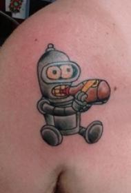 男生肩部彩绘点刺技巧几何线条卡通机器人纹身图片