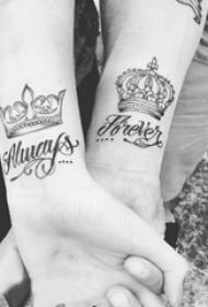 情侣纹身情侣手臂上的唯美皇冠纹身图片