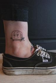 女生脚踝上黑灰点刺简单线条卡通烤箱纹身图片