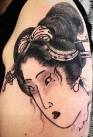 多款黑灰素描点刺技巧创意经典日本传统图腾纹身图案