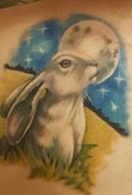 女生后背上彩绘渐变简单线条月亮和小动物兔子纹身图片